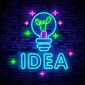 Logotipo de néon de idéia criativa