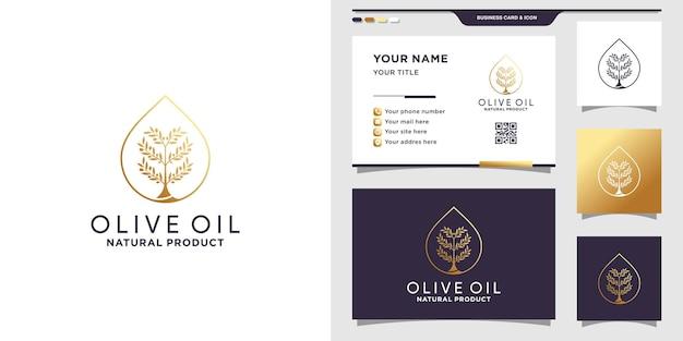 Logotipo de óleo de oliva e gota d'água com estilo de arte de linha e cartão de visita