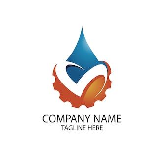 Logotipo de óleo e engrenagem