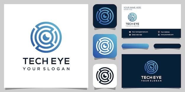 Logotipo de olho de tecnologia, tecnologia e cartão de visita.