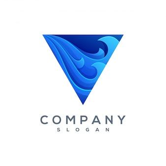 Logotipo de onda de triângulo vector pronto para uso