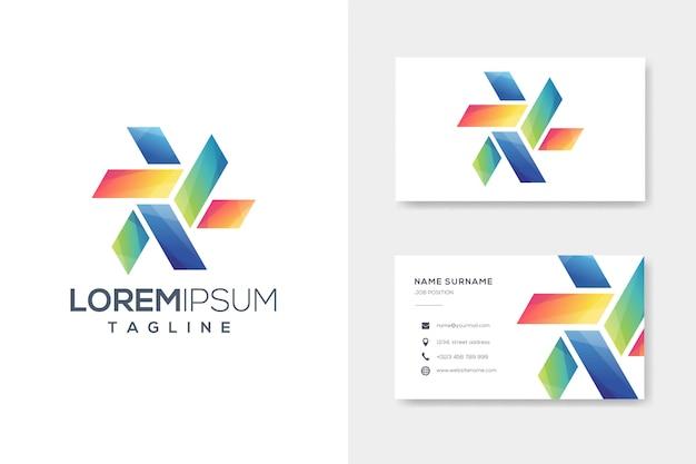 Logotipo de origami de caixa colorida com design de cartão de visita