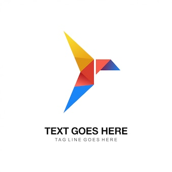 Logotipo de origami de pássaro