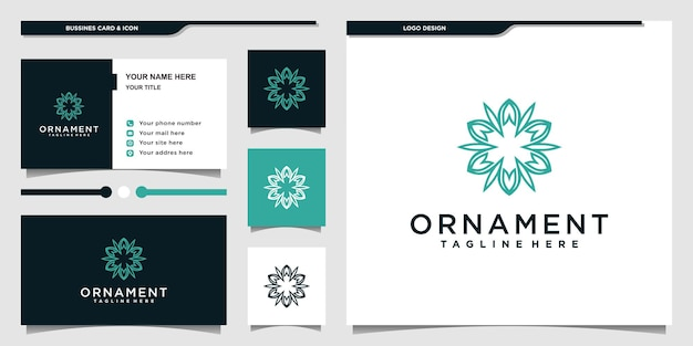 Logotipo de ornamento com estilo de arte de linha de moldura simples e cartão de visita premium vekto