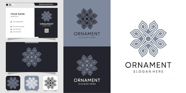 Logotipo de ornamento com estilo de arte linha e design de cartão de visita, luxo, resumo, beleza, ícone