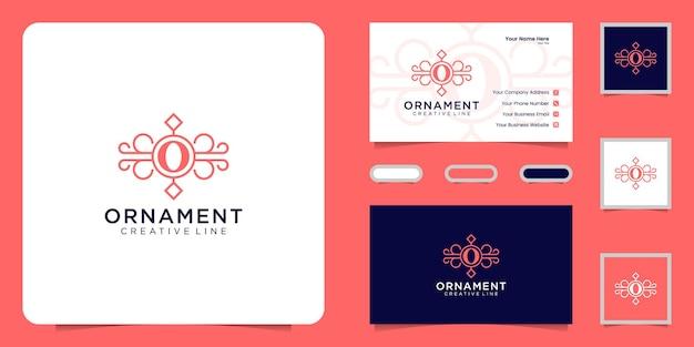 Logotipo de ornamento de luxo com a letra inicial o e cartão de visita