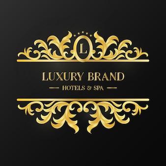 Logótipo de ornamento vintage dourado de marca de luxo