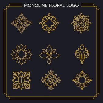 Logotipo de pacote monoline floral
