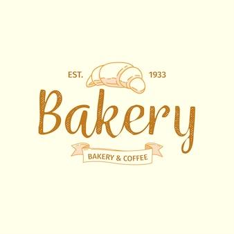 Logotipo de padaria com design retro e croissant