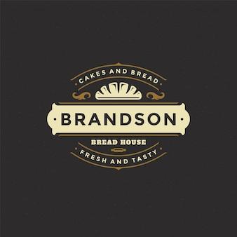 Logotipo de padaria com silhueta de pão ou pão