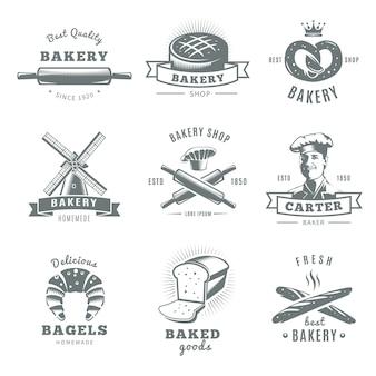 Logotipo de padaria vintage cinza e isolado conjunto com padeiro de melhor qualidade e melhores descrições de padaria frescas