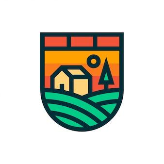 Logotipo de paisagem de fazenda e ícone.