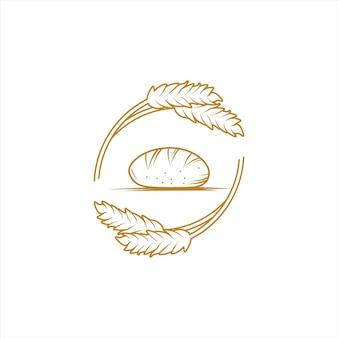 Logotipo de pão de grupo e vetor de trigo