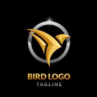 Logotipo de pássaro dourado luxuoso com formato de círculo prateado