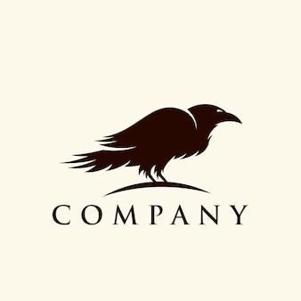 Logotipo de pássaro silhueta corvo