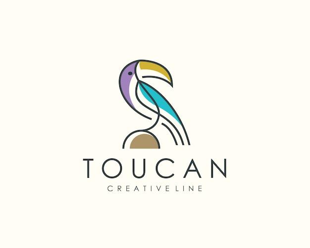Logotipo de pássaro tucano, arte de linha animal