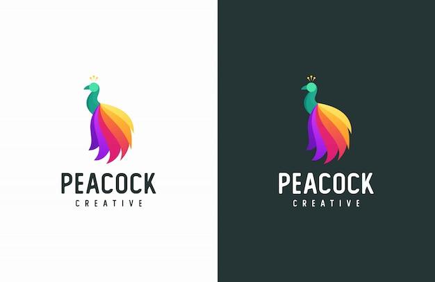Logotipo de pavão, animal moderno vetor colorido