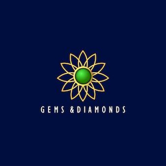 Logotipo de pedras preciosas e diamantes