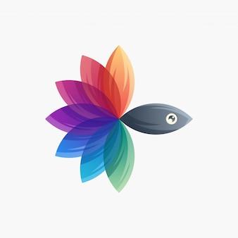 Logotipo de peixe colorido pronto para uso
