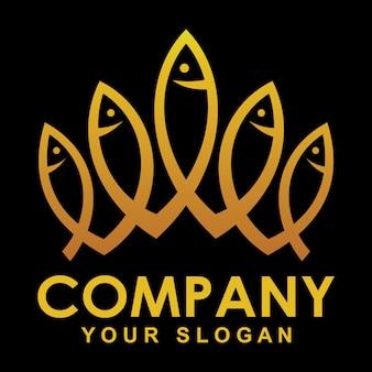Logotipo de peixe de coroa de ouro