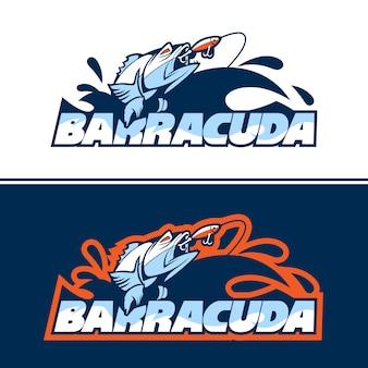 Logotipo de peixe dinâmico em busca de isca.