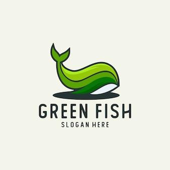 Logotipo de peixe folha verde