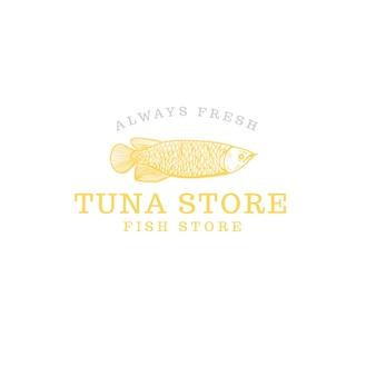 Logotipo de peixe fresco local isolado no branco