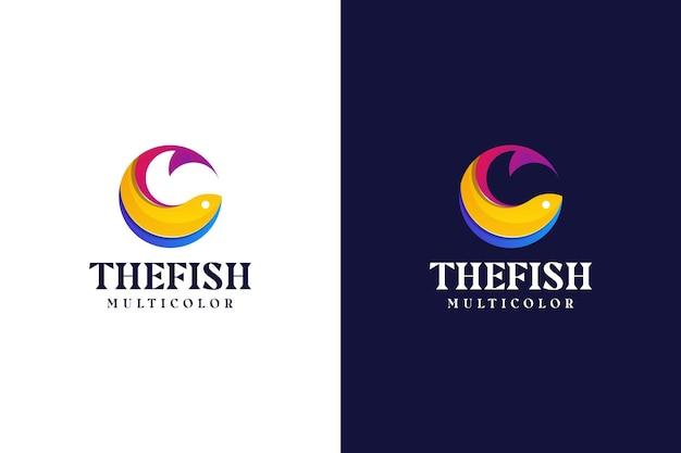 Logotipo de peixe gradiente moderno abstrato colorido
