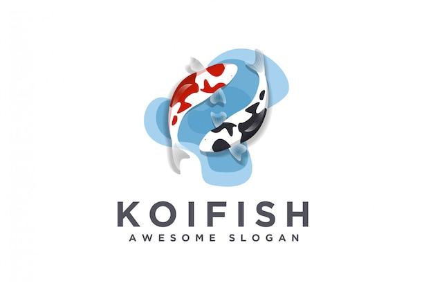 Logotipo de peixe koi realista minimalista