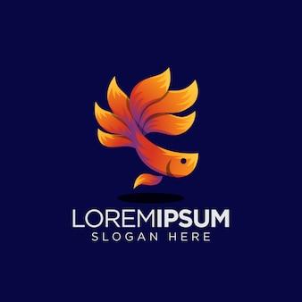Logotipo de peixe laranja betta