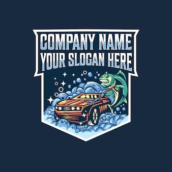Logotipo de peixe lavagem de carro
