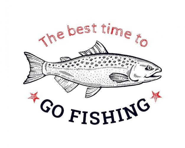 Logotipo de peixe salmão para impressão de t-shirt. estilo de desenho de mão desenhada arte de linha preta.