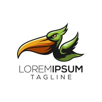 Logotipo de pelicano irritado