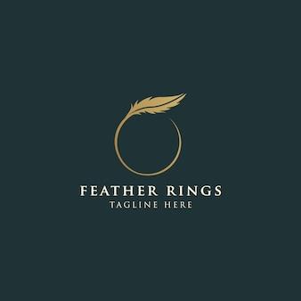 Logotipo de penas femininas de luxo