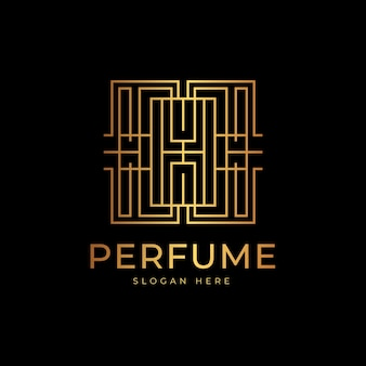 Logotipo de perfume de luxo e estilo dourado