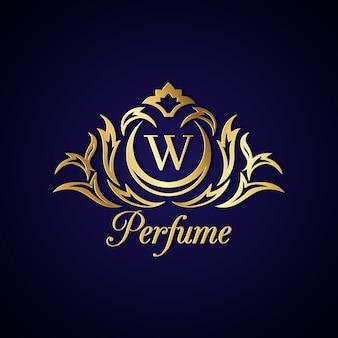 Logotipo de perfume elegante com design dourado
