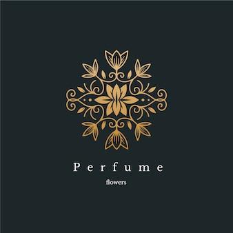 Logotipo de perfume floral luxo
