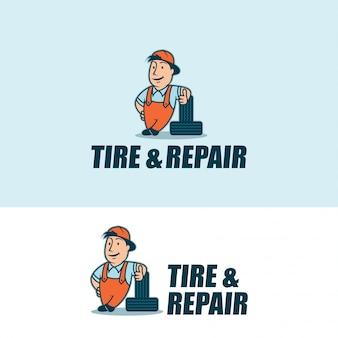 Logotipo de personagem de pneu e reparação