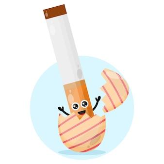 Logotipo de personagem fofa de cigarro de ovo de páscoa