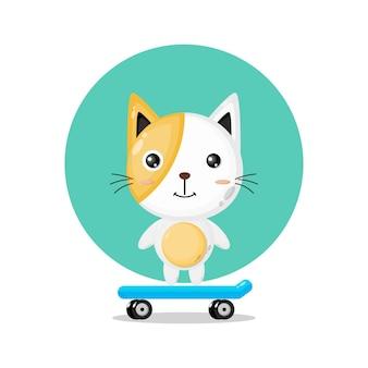 Logotipo de personagem fofa de gato andando de skate