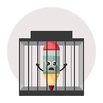 Logotipo de personagem fofa de lápis prisão