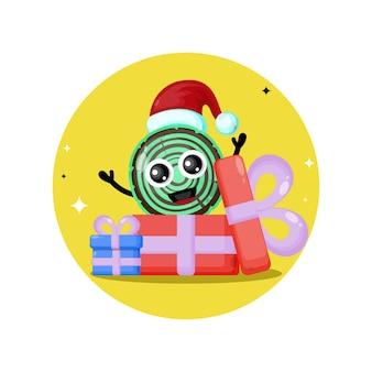 Logotipo de personagem fofa de madeira para presente de natal