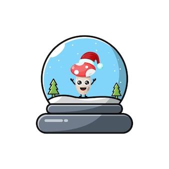 Logotipo de personagem fofa de natal em cúpula de cogumelo