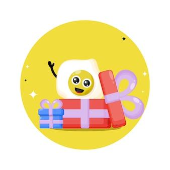 Logotipo de personagem fofa de ovo para presente
