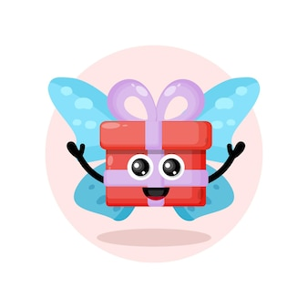 Logotipo de personagem fofa de presente de borboleta