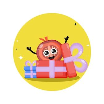 Logotipo de personagem fofa de presente de tomate