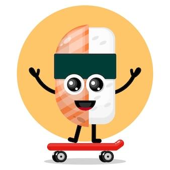 Logotipo de personagem fofa de sushi skate
