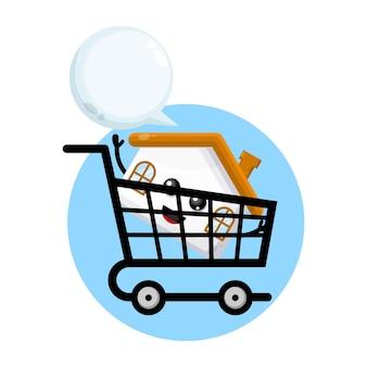 Logotipo de personagem fofa para compras em casa