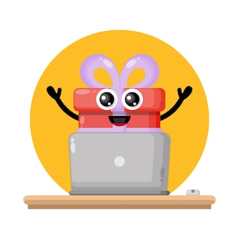 Logotipo de personagem fofa para laptop
