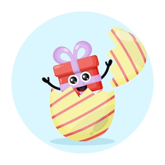 Logotipo de personagem fofa para presente de ovo de páscoa